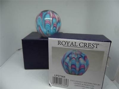 Beautiful Royal Crest Glass Paperweight -Boxed- Lovely Gift Desk Top Display