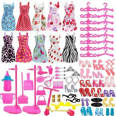 ASIV 110Pcs Fashion Doll Clothes and Accessories for Barbie Dolls, Fashio... New