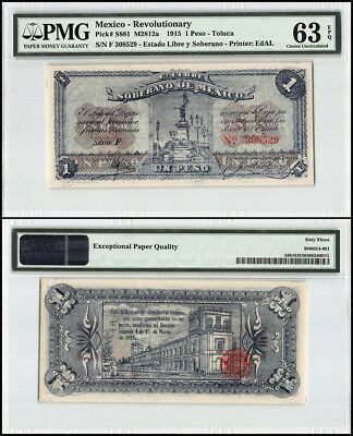 Mexico 1 Pesos, 1915, P-S881, Sovereign, Free State, Statue, Building, PMG 63