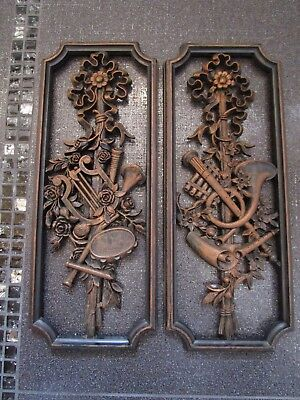 VTG Set of 2 COPPERCRAFT GUILD Made in USA Music Instruments Theme Wall Plaques