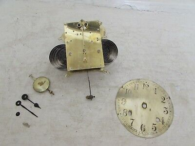 Antique British Manufacture Mantel Clock Movement Complete With Face & Hands