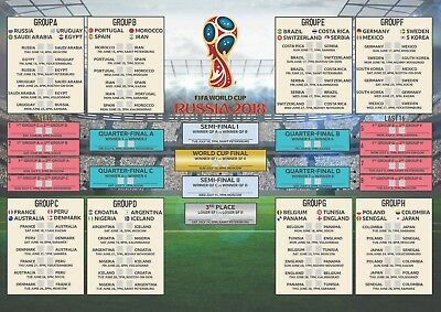 Russia 2018 Football World Cup Premium Poster Wall Chart Size A3 A2 LARGE
