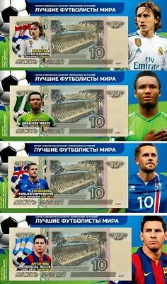 Set of 4 banknotes 2018 FIFA World Cup-Russia 10 ruble Group D -UNC!