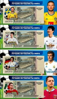 Set of 4 banknotes 2018 FIFA World Cup-Russia 10 ruble Group F -UNC!