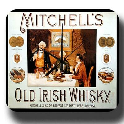 Mitchells Old Irish Whiskey Vintage Retro Pub Bar Metal Tin Sign Wall Clock