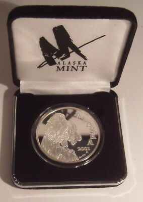 2001 Alaska State Medallion Mountain Goat 1 Oz. .999 Silver Proof Round in Case