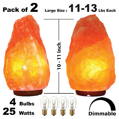 2X Pack Large 10 - 11 Inch Himalayan Salt Lamp Dimmer Switch Ul Cord Night Light