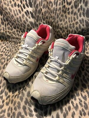 timeless design f426b 917fe Nike Shox Women s Size 8 Pink White Leather Silver Glitter Sneakers   Rare