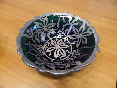 Dark Emerald Green Glass Italian Italy Bowl W/ Sterling Silver Overlay