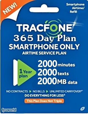 TracFone Smartphone Refill 365 Days 1year 2000 minutes 2000 text and 2000 Data