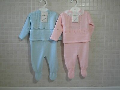 Spanish style baby Boy Girl knitted 2 Piece top and leggings set Blue Pink 0-9 m