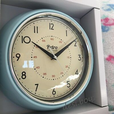 Retro Vintage Diner Round American Kitchen Wall Clock Red Black Cream Blue