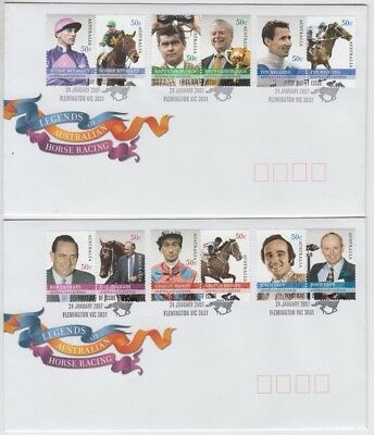 Stamps Australia 2007 horse racing legends set of 12 on pair official FDC's