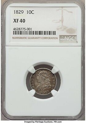 1829 Capped Bust Dime NGC XF-40 - Nice Original Coin - kdx