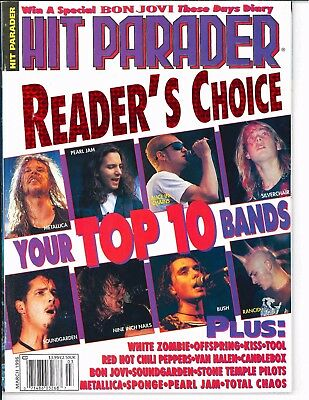 Hit Parader Magazine March 1996	Readers Choice Your Top 10 Bands Alice In Chains