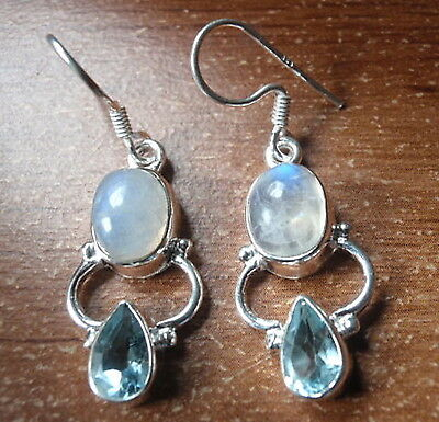 Faceted Blue Topaz and Moonstone Sterling Silver Earrings Corona Sun Jewelry