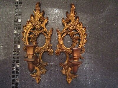 SYROCO 4131 Made in USA Gold Ornate Wall Sconce Candle Holders VINTAGE 1962