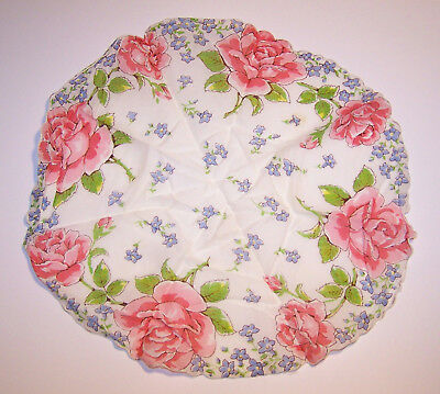 Beautiful Vintage Antique Round Pink Floral Handkerchief scalloped edges 13""