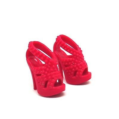 Barbie Doll Pink Red Strappy High Heel Shoes