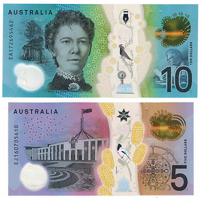 Australia 2016 $5 and 2017 $10 Next Generation Last Prefix UNC consecutive.