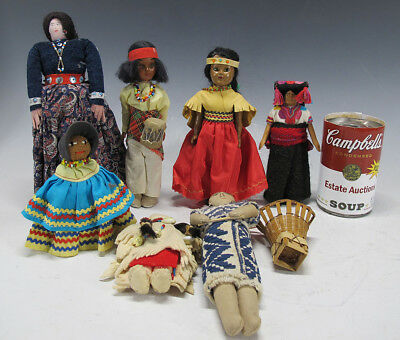 Mixed Collection (7) Vintage Native American Indian Wood Cloth Ethnic Dolls yqz