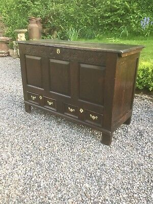 Antique English  Oak 18th Century Mule Chest / Coffer With Drawers Under Sn-121