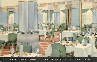 """Cheyenne Wyoming~Plains Hotel~""""The Wyoming Room""""~Dining~Art Deco Linen~1937 PC"""