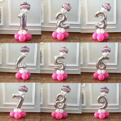 """32"""" Helium Ballons Number Foil Balloon Baby Birthday Decor Number 0-9 DIY Party"""