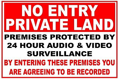 Pack 2 No Entry Private Land Sign Stickers Farm Yard Store Garage FREE POST!