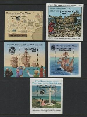 BAHAMAS 1988-92 500th ANNIV OF DISCOVERY OF AMERICA MIN SHEETS 1-5inc *VF MNH*