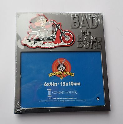 """Looney Tunes Tazmanian Devil Picture Frame, """"Bad to the Bone"""" on Motorcycle, NIP"""