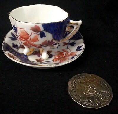 ♡ Free Post Tiny Footed Cup & Saucer Imari Colors Cobalt Blue Orange Gold Overla