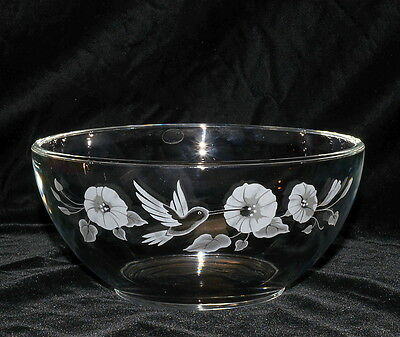 Avon Hummingbird * ROUND SERVING BOWL * 24% Full Lead Crystal, Excellent!
