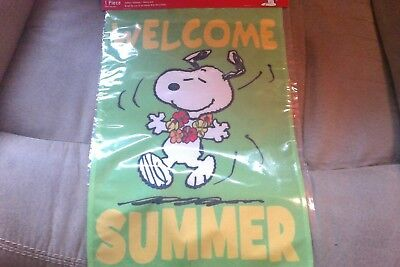 "snoopy welcome summer 12""x 18"" garden flag"