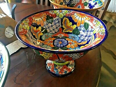 TALAVERA MEXICAN POTTERY - Large FRUIT BOWL ON A PEDESTAL (Assorted Colors)