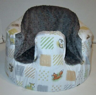 New Bumbo Floor Seat COVER • Baby Forest Animal Squares • Safety Strap Ready