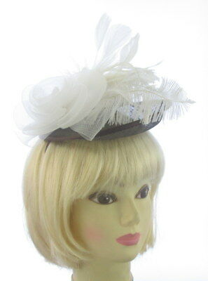 Brown and white fascinator hat headband for Ascot , Races, Weddings, Ladies Day
