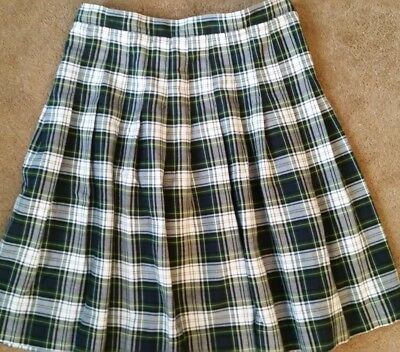 Lands End School Uniform Girls Pleated Skirt Below Knee, White Plaid, Free Ship