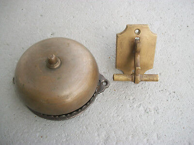 Wonderful 1878  Victorian Cast Iron & Brass Mechanical Door Bell Great Sound