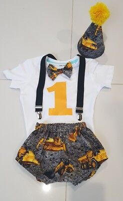 First birthday outfit  - construction - diggers - Cake smash