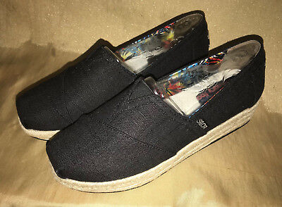 fbd738302808 Skechers BOBS Ladies WEDGE Heel Canvas Shoes - Pick size   color   black    taupe