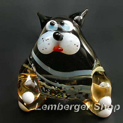 Glass figurine cat made of colored glass. Height 6 cm / 2.4 inch!