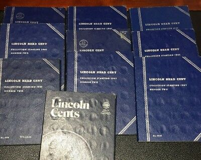1941-1958 PDS Lincoln Cent Sets~10 Sets in Blue Whitman Folders- 510 Coins