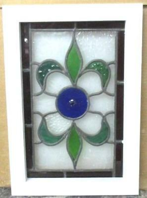 "VICTORIAN ENGLISH LEADED STAINED GLASS  WINDOW Floral With Bullseye 11"" x 16"""