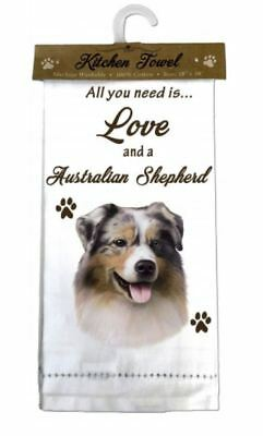 Aussie  Australian Shepherd Dog Cotton Kitchen Dish Towel