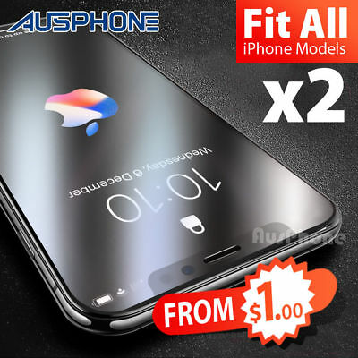 2x Scratch Resist Tempered Glass Screen Protector for Apple iPhone X 8 7 6s Plus