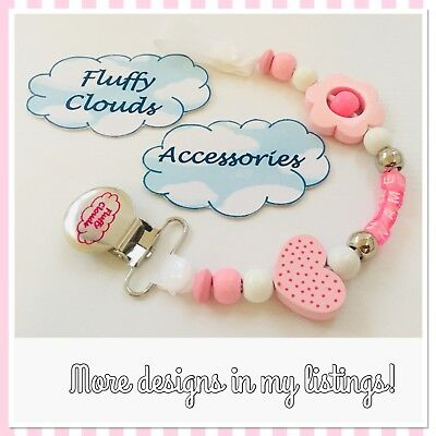Cute Baby Personalized Wooden Bead Pacifier Soother Dummy Clip Holder ~ Girls