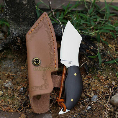 D2 Mini Outdoor EDC Camping Fixed Knife w/ Leather Sheath Ebony Wooden Handle