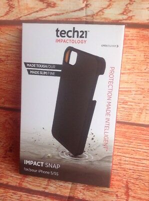 TECH21 Impactology IPHONE 5 5S COVER IMPACT SNAP BLACK BRAND NEW SEALED