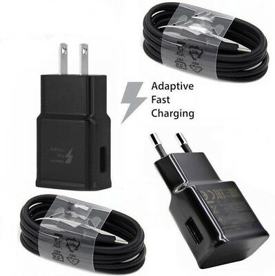 Adaptive Fast Travel Wall Charger For Samsung Galaxy S8 S9 Plus Note 8 w/Cable